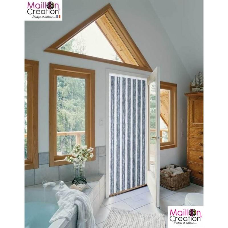 rideau de porte chenille gris et blanc