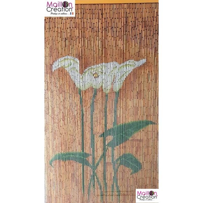 Rideau de porte bambou avec dessin