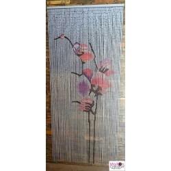 rideau de porte en bambou avec dessin de fleur