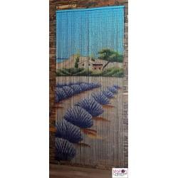 rideau de bambou avec dessin lavandes