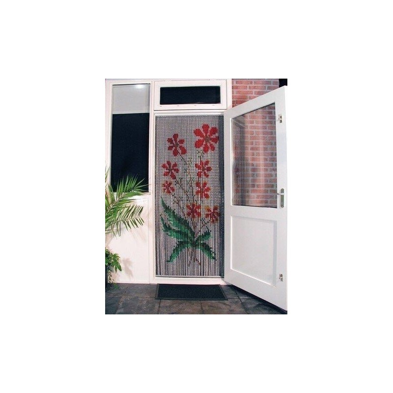 "Door curtain ""Bouquets of red flowers"""