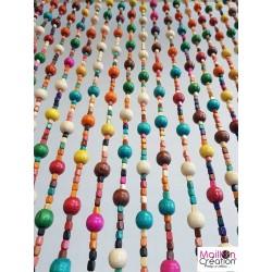 rideau en perle de bois multicolore