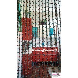 rideau de porte en perles de bois multicolore