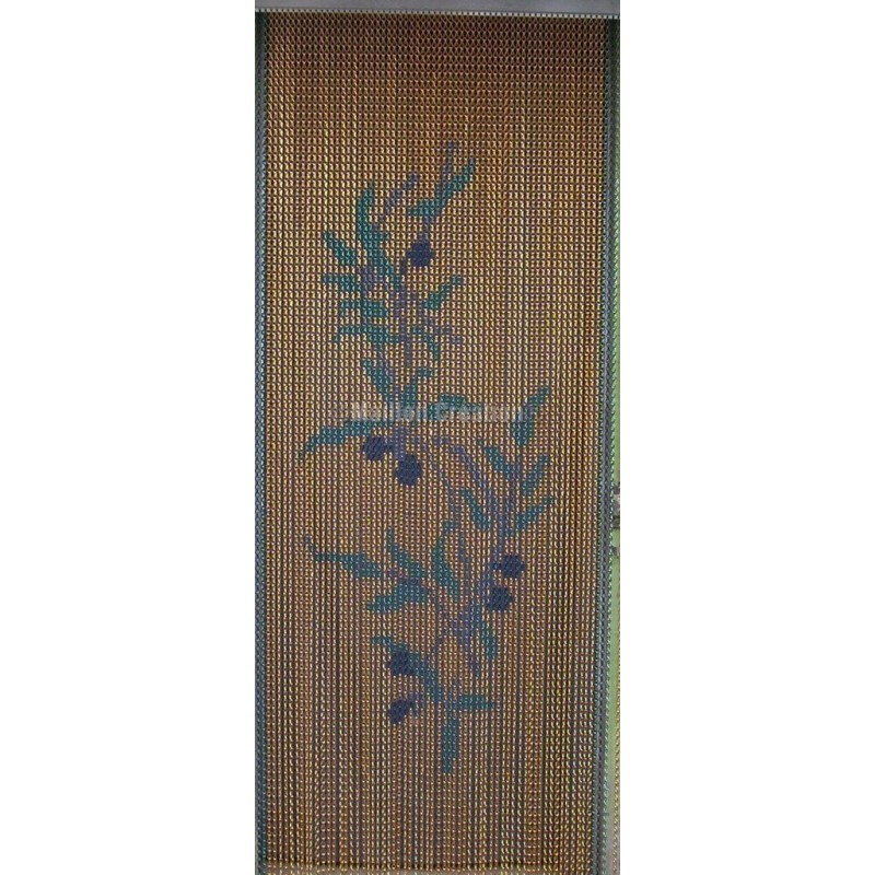 """Door curtain """"Olive branch yellow background"""""""