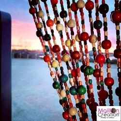 Rideau style boho Chic en perles de bois multicolores