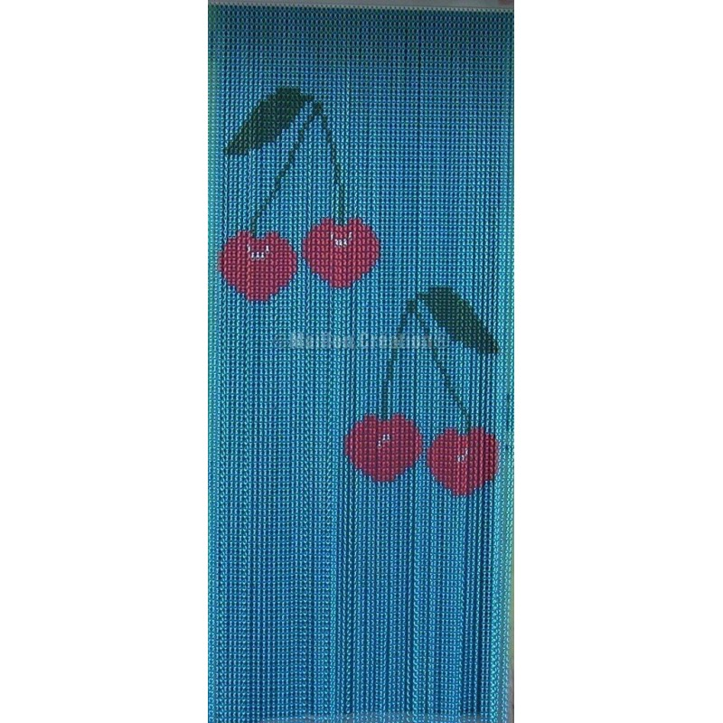"Door curtain ""Small cherry blue background"""