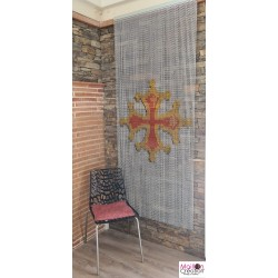 rideau en chaîne alu avec dessin Croix occitane
