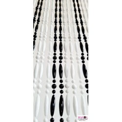 white and black beaded curtain