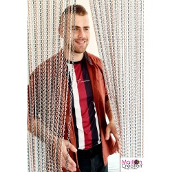 silver, gray and pink chain door curtain