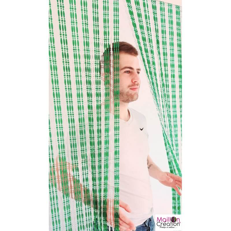 crystal and translucent green pearl curtain
