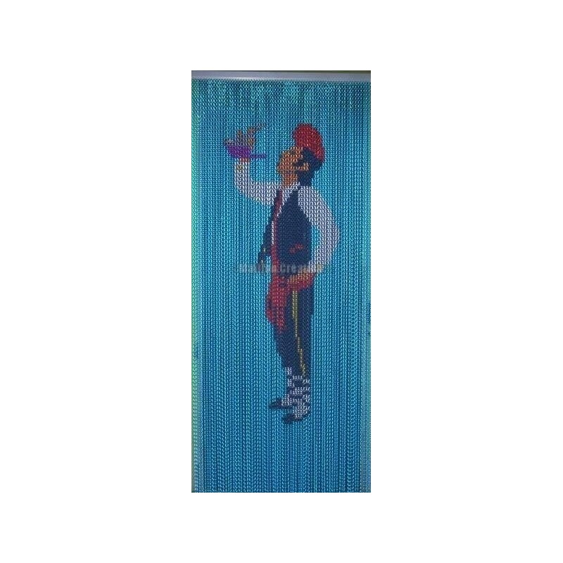 "Door curtain ""Catalan with blue background"""