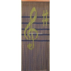 "Door curtain ""Clef de sol jaune, maroon background"""