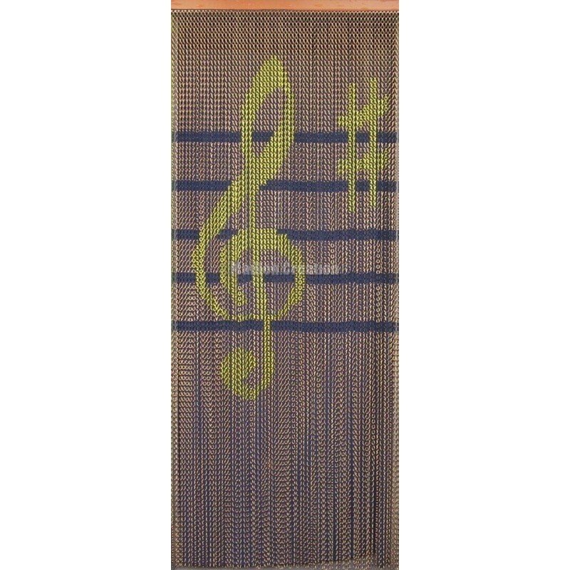 """Door curtain """"Clef de sol jaune, maroon background"""""""
