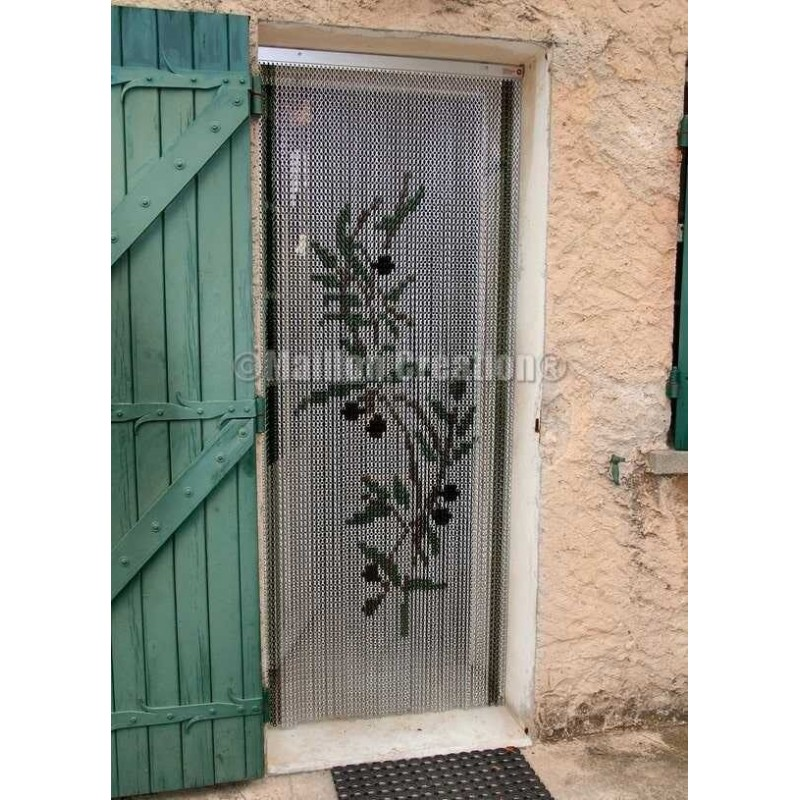 "Door curtain ""Branch olive tree silver background"""