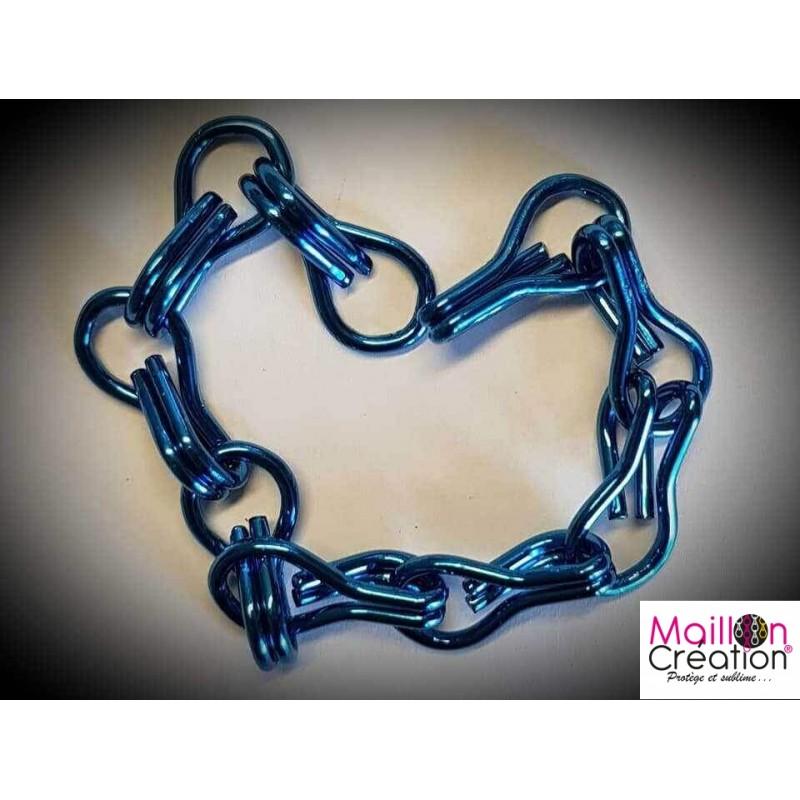 Échantillon rideau chaîne métal bleu foncé pour rideau de porte