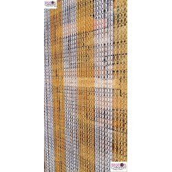 yellow and silver aluminum chain curtain