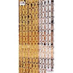 rideau de porte en chainette d'aluminium couleur jaune et argent