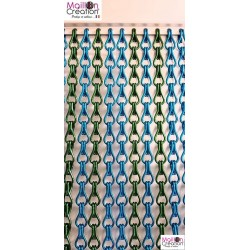 Blue & green door curtain