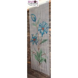 Blue flower chain door curtain