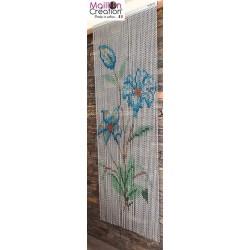 Rideau de porte en chaînette fleurs bleues