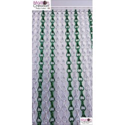 Silver & green door curtain