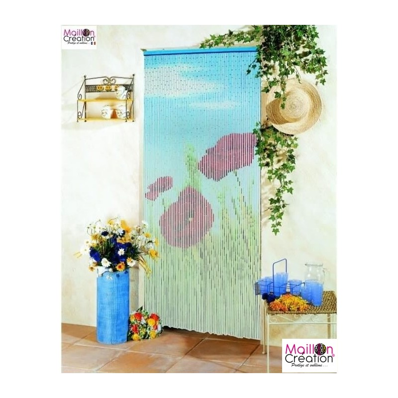 Bamboo curtain with poppies pattern