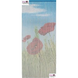 Bamboo door curtain Poppies