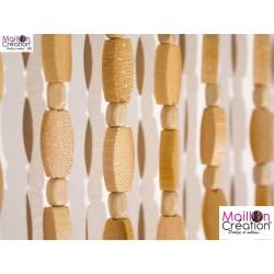 rideau bambou et perles de bois
