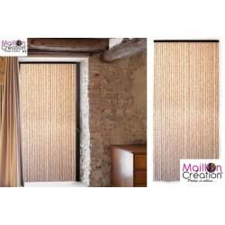 rideau de porte bambou et perles de bois