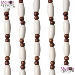 Rideau perles et olivettes de bois